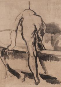 Het bad gewassen inkt, gesigneerd  en gedateerd links onder 99 x 69 cm, 1917