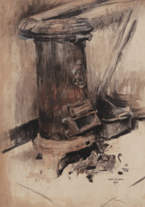De kachel / The Stove aquarel, gesigneerd en gedateerd rechts onder watercolor, signed and dated lower left 69 x 50 cm, 1914