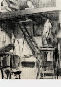 Het atelier / The Studio houtskool charcoal 49 x 37 cm