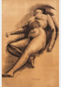 Liggend naakt / Reclining Nude, houtskool, gesigneerd midden onder charcoal, signed lower center 109 x 72 cm