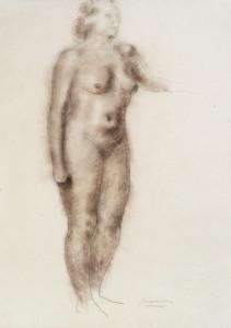 Staand naakt / Standing Nude conté en Siberisch krijt, gesigneerd rechts onder conté crayon and Siberian chalk, signed lower right 62 x 45 cm