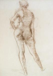 Staand naakt op de rug / Standing Nude, Back View bruin krijt, gesigneerd links onder brown chalk, signed lower left 63 x 45 cm