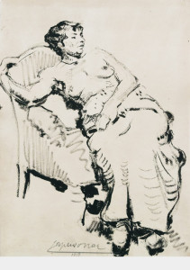 Vrouw in zetel / Woman in Chair Oost indische inkt, gesigneerd en gedateerd midden onder Indian ink, signed and dated lower center 42 x 30 cm, 1915