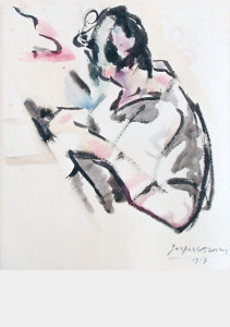 Vrouwenportret / Woman Portrait aquarel, gesigneerd en gedateerd rechts onder watercolor, signed and dated lower right 33 x 27,5 cm, 1917