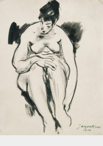Zittend naakt / Sitting Nude Oostindische inkt, gesigneerd en gedateerd rechts onder Indian ink, signed and dated lower right 51 x 38 cm, 1914