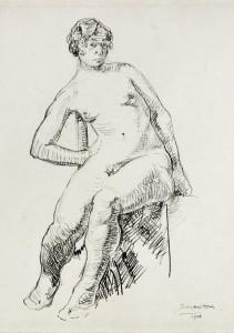 Zittend naakt / Sitting Nude Oost indische inkt, gesigneerd en gedateerd rechts onder Indian ink, signed and dated lower right 42 x 30 cm, 1916