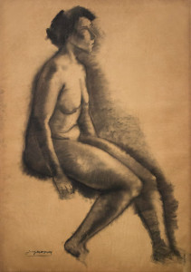 Zittend naakt / Sitting Nude houtskool, gesigneerd links onder charcoal, signed lower left 109 x 72 cm