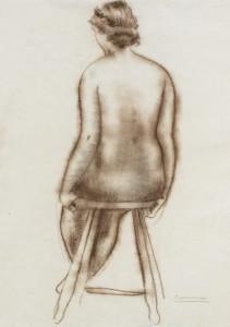 Zittend naakt / Sitting Nude Siberische inkt, gesigneerd rechts onder Siberian ink, signed lower right 60 x 44 cm