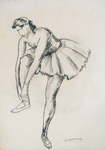 Balletdanseres / Ballet Dancer potlood en Oostindische inkt, gesigneerd rechts onder pencil and Indian ink, signed lower right 62 x 45 cm
