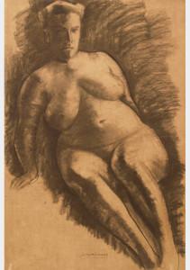 Groot naakt / Large Nude houtskool, gesigneerd midden onder charcoal, signed lower center 109 x 75 cm