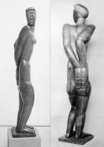 Jonge vrouw 1930, limbahout uit Kongo, 167 x 39,5 x 35 cm