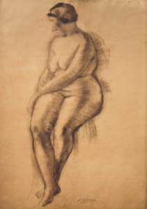 Zittend naakt / Sitting Nude houtskool, gesigneerd midden onder charcoal, signed lower center 110 x 72 cm